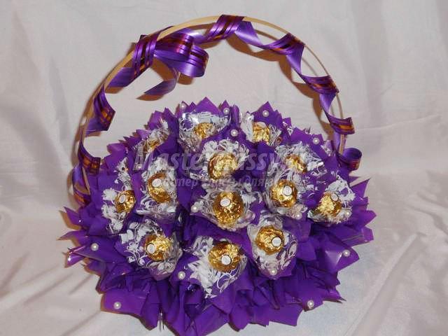 Корзины из конфет своими руками мастер класс